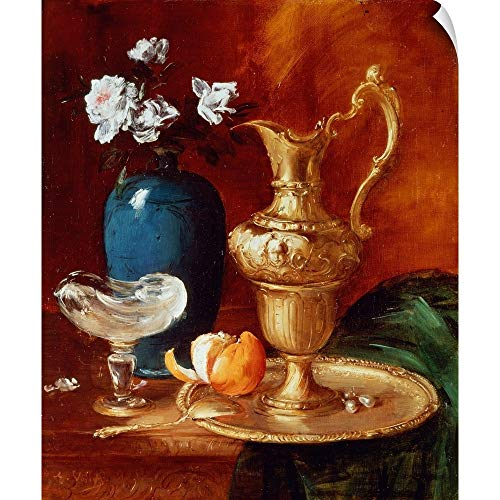 CANVAS ON DEMAND Antoine Vollon Wall Peel Wall Art Print Entitled Still Life of a Gilt Ewer, vase of Flowers and a facon de Venise Bowl 10