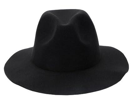Amazon.com  DRAGON SONIC Stylish Fedora Hat Wide Brim Hat - Black ... 5d84aa03430