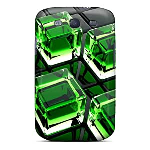 Awesome Green Cubes Flip Case With Fashion Design For Galaxy S3