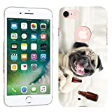 iPhone 7 Case / iPhone 8 Case - Pug Dog Hard Plastic Back Cover. Slim Profile Cute Printed Designer Snap on Case by Glisten