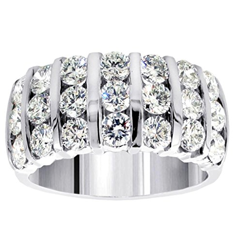 Bar Channel Diamond Band - 3.00 CT TW 7-Row Bars Channel Set Round Diamond Anniversary Ring in 14k White Gold - Size 12