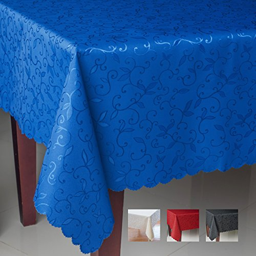 Turkish Rectangle Blue Tablecloth Polyester Table Cover Stain Resistant Wrinkle free Non-Iron Dust-proof Easter Table linen Thanksgiving Christmas New Year Eve Gift (BLUE, Rectangle 60