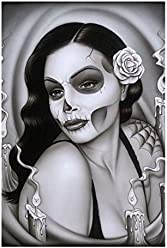 8cb6608fb Day of The Dead Aria Spider Framed Art Print Sexy Mexican Sugar Skull Pinup  Girl