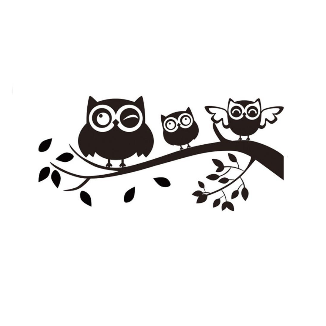 Amazon com smdoxi wall stickers kawaii owls removable 3d wall paper bathroom door cartoon mural decals vinyl art room decor black home kitchen