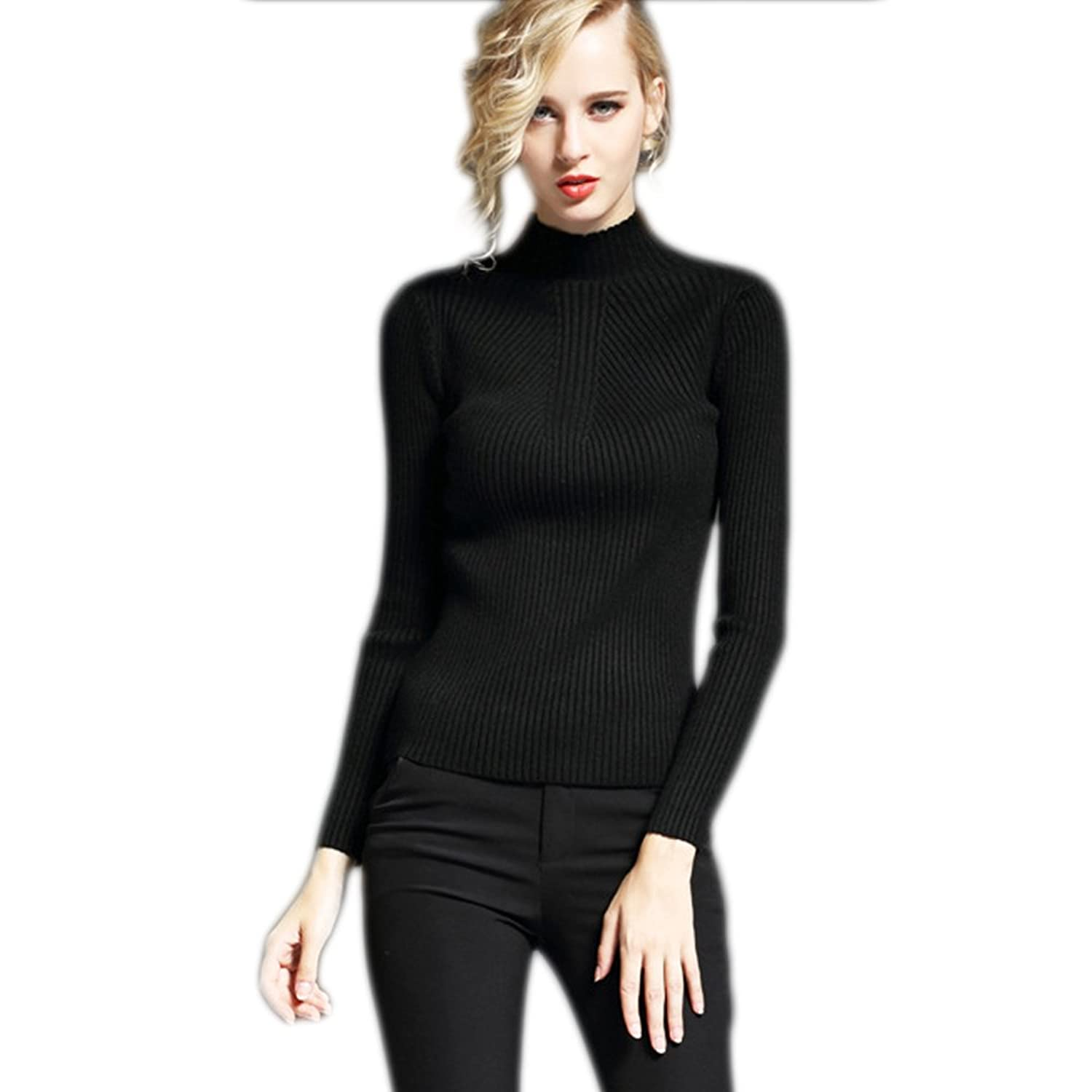 Cestvue Women's Stretchy Line Design Turtleneck pullover sweaters Sweater