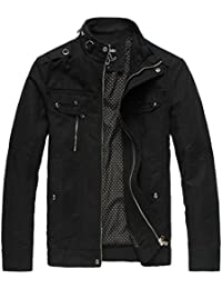 Wantdo Men's Cotton Stand Collar Lightweight Front Zip Jacket