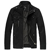 Wantdo Mens Cotton Stand Collar Lightweight Front Zip Jacket