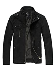 Wantdo Men's Cotton Stand Collar Lightweight Front Zip Jacket US Small Black