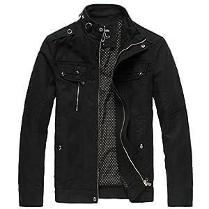 Wantdo Men's Cotton Stand Collar Lightweight Front Zip Jacket 26