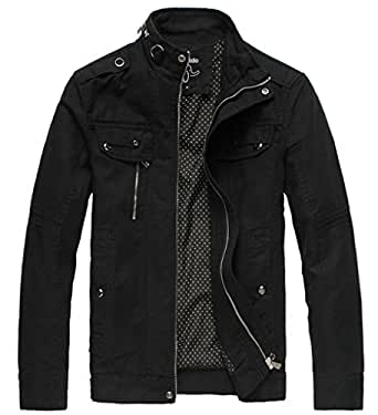 Wantdo Men's Cotton Stand Collar Lightweight Front Zip Jacket US Small Black