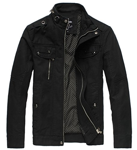Wantdo Men's Cotton Stand Collar Lightweight Front Zip Jacket Black,US XL