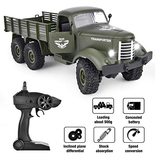 Rainbrace RC Military Truck -Radio Control 1/16 All Terrain Remote Control Military Truck 2.4Ghz 6WD RTR Controller Electric RC Off Road Trucks Vehicle Rechargeable Batteries Great Gift for Kids Boys