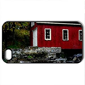 Red Bard Falls - Case Cover for iPhone 4 and 4s (Watercolor style, Black)