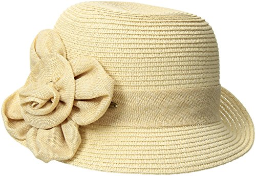 NYFASHION101-Womens-Paper-Woven-Cloche-Hat-with-Flower-Band