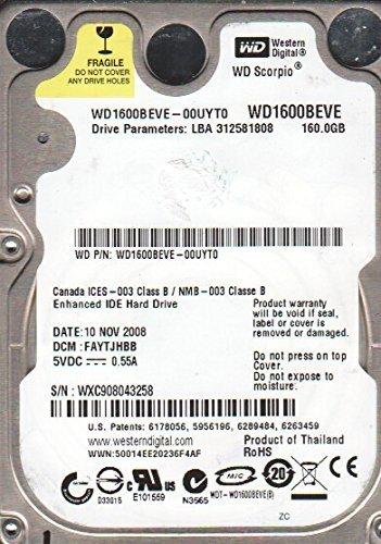 160 Drive Ide Hard Gb (WD1600BEVE-00UYT0, DCM FAYTJHBB, Western Digital 160GB IDE 2.5 Hard Drive)