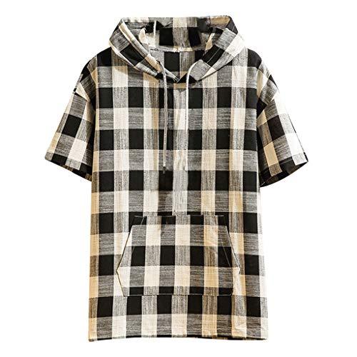 Outique Men's Shirt Jacket with Hood Summer Fashion Plaid Hoodie Loose Cotton Linen T-Shirt Short Sleeve Tops Black ()