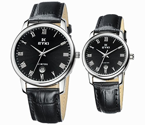 EYKI Ori-0179 Black Strape & Silvery Bezel Couple Watches for His-and-Hers