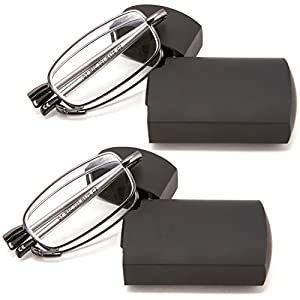 DOUBLETAKE 2 Pack Compact Folding Readers Reading Glasses w Case - 2.00x