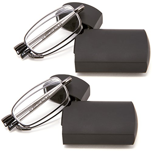 DOUBLETAKE 2 Pairs of Metal Compact Folding Reading Glasses with Mini Flip Top Carrying Case for Men and - Folding Glasses