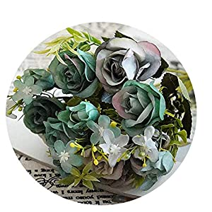Artificial Small Roses Flower Bouquet Decorative Silk Flowers Table Arrange for Wedding Home Party Decoration Accessory D 60