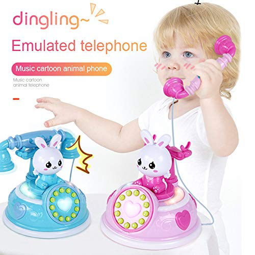 Finetoknow Kid Telephone Toy, Simulation Telephone Toy, Phone Pretend Play Toy, Learning Education Birthday Party Gifts,1 Pcs Simulation Telephone Toy Role Play with Music Light Early Education