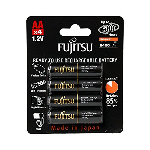 Fujitsu Accessories - Fujitsu HR-3UTHCEX(4B) 4-Pack AA High Capacity Ni-MH Pre-Charged Rechargeable Batteries (Made in Japan)