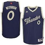 NBA 2015-16 Season Oklahoma City Thunder #0 Russell Westbrook Christmas Navy Blue Jersey X-Large