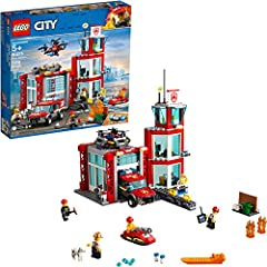 Kids can protect the citizens of LEGO city with the action-packed fire rescue building set, featuring a 3-level fire station. This fire house is equipped with an office, relaxation room, Scout toy tower and small waterside dock for a water sc...