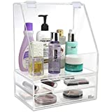 Ikee Design Acrylic Makeup Cosmetic Organizer Storage Case Holder Display with Slanted Front Open Lid for Makeup, Brushes, Perfumes, Skincare and Jewelry Accessory with 2 Drawers