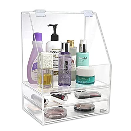 Ikee Design Acrylic Makeup Cosmetic Organizer Storage Case Holder Display with Slanted Front Open Lid for