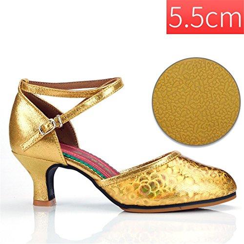 Golden Ballo Oro Latino Ballerine 5 WXMDDN Scarpe Sociale Scarpe Scarpe da Ballo da 5 Stagioni Scarpe Ballo 5 Cm Adulti Esterno Per Outdoor 5 Moderno da Donna Ballo cm da Scarpe RXSw4Sqxn