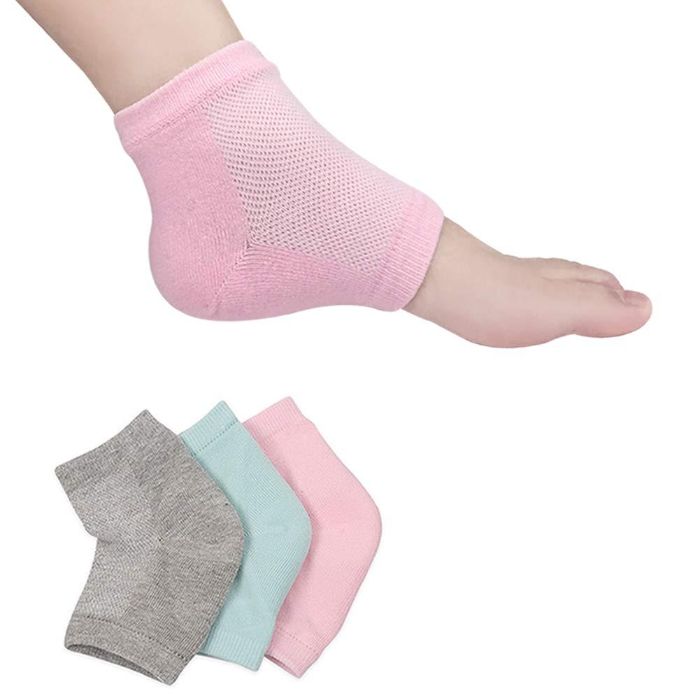 Moisturizing Socks, Moisturizing/Gel Heel Socks for Dry Cracked Heels, Open Toe Socks, Ventilate Gel Spa Socks to Heal and Treat Dry, Gel Lining Infused with Vitamins-3 Pairs(Pink, Turquoise, Grey)