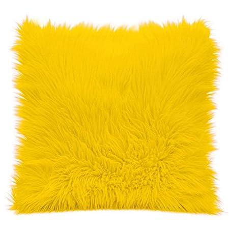 Almohada 45 X 45 cm Piel Sintética cremallera Amarillo sofá cojín de pelo largo flojel 818