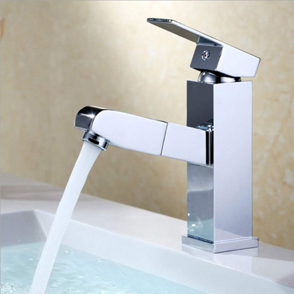 Water Tap Copper Hot and Cold Water Mixing Faucet Pull-Type Basin Faucet Multi-Function Washbasin Sink Faucet