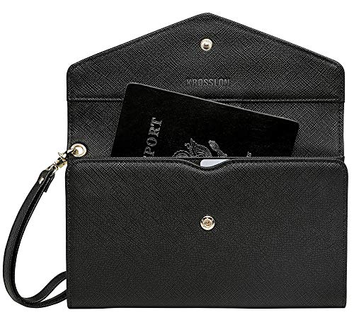Krosslon Rfid Travel Passport Wallet for Women Slim Holder Wristlet Document Organizer, 201# Black