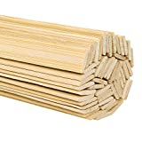 DYWISHKEY Natural Bamboo Sticks, Wooden Craft Sticks, 15.5 Inches Longth x 3/8 Inch Width (50 Pcs)