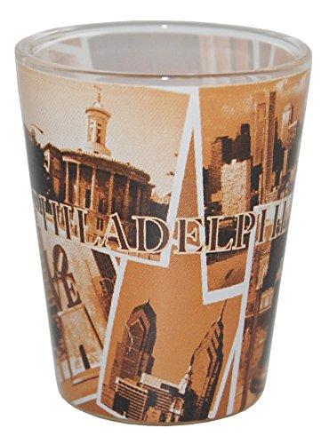 (Philadelphia PA Collage of Famous Landmarks Souvenir Shot Glass)