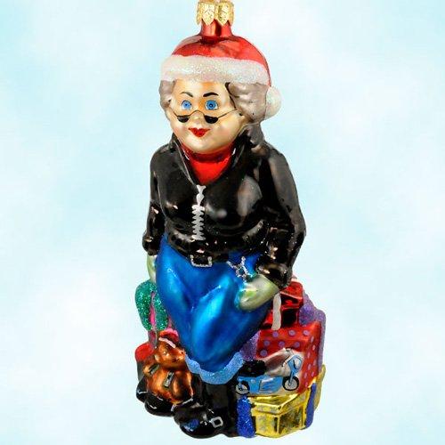 Christmas Ornaments, Mrs. Harley Davidson Claus, 1999, ,Standing, blue jeans,Harley biker jacket - Christopher Radko 99-HAR-01