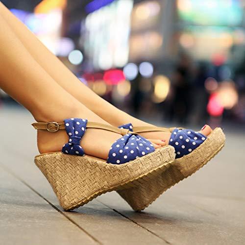 Dames Confortables Poissons Dot Sanfashion Chaussures Nouvelles Casual 2019 Bouche Fond Mode Polka Été Épaisse Wedge Bleues Sandales RR67EWU