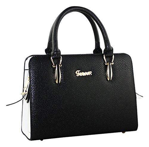 MissFox Borsa Donna Elegante A Mano Shopping Bag Da Spalla Cerniera Nero