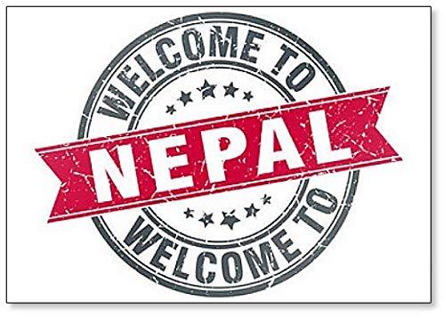 Stamp Refrigerator Magnet - Welcome to Nepal Red Round Vintage Stamp Illustration Fridge Magnet