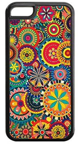 Flower Circles Pattern - Case for the Apple Iphone 6 Plus Only- Hard Black Plastic Snap On Case