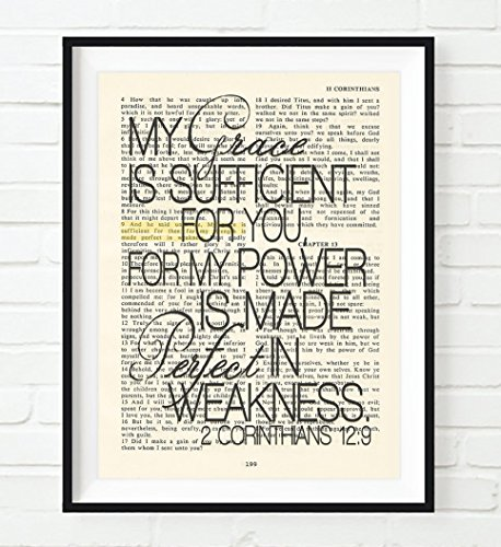 My Grace is Sufficient for You- 2 Corinthians 12:9 Christian UNFRAMED reproduction Art PRINT, Vintage Bible verse scripture wall & home decor poster, Inspirational gift, 5x7 inches]()