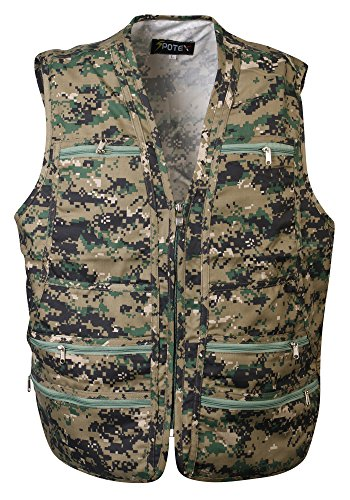 Men's 9 Pockets Work Utility Vest Military Photo Safari Travel Vest (L, Camo) (Camouflage Vest)