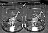 Giraffe Laser Etched Double Old Fashioned Whiskey Glass Set (2, DOF)