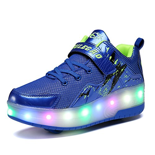 Chic Rechargeable Sources Skate Girls up Wheels Blue Wheeled Light two Roller Shoes LED Boys Sneakers nZaaqxwr