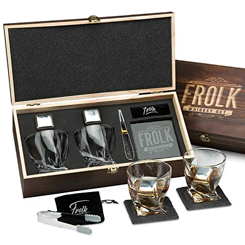 Premium Whiskey Stones Gift Set for Men - 2 King-Sized Chilling Stainless-Steel Whiskey Cubes - 11 oz 2 Large Twisted Whiskey Glasses, Slate Stone Coasters, Tongs - Luxury Set in Real Pine Wood Box