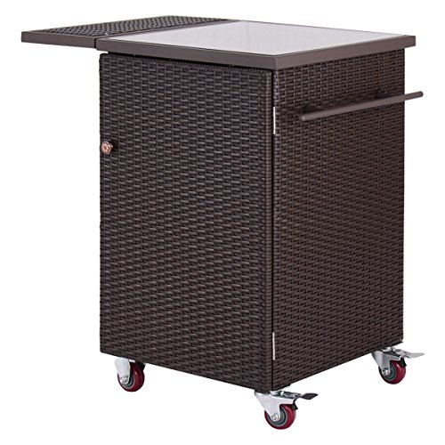 Giantex Cart Bar Rattan Wicker Kitchen Trolley Casters Patio Home, Brown