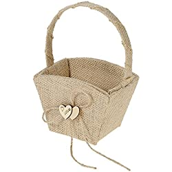 Decdeal Vintage Rustic Flower Girl Basket with Wooden Heart Decoration Wedding Supplies