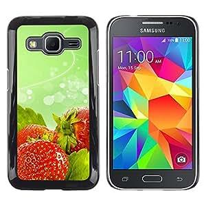 Smartphone Rígido Protección única Imagen Carcasa Funda Tapa Skin Case Para Samsung Galaxy Core Prime SM-G360 Fruit Macro Wet Strawberries / STRONG